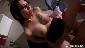 Stunning bosomy Japanese office slut Minami Kitagawa gets poked mish
