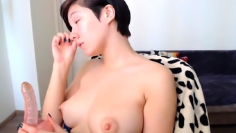 Huge nipples blowjob and masturbate part2
