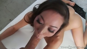 Asian cutie with natural tits Kalina Ryu rubs clit before giving awesome BJ