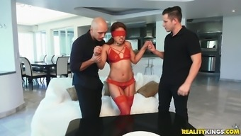 Blindfolded petite babe Samantha Garmendia in a hardcore MMF threesome