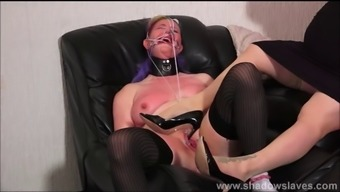 Bizarre lesbian humiliation and pussy spanking of amateur sm