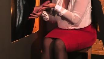European cfnm beauties tugging slaves cock