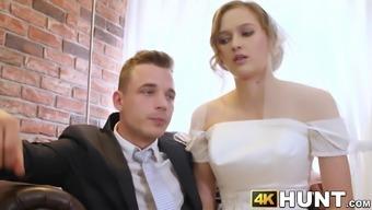 Beautiful bride fucks stranger while hubby cuckolds