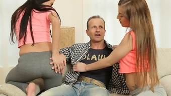 DADDY4K. Young teens with ease seduce old daddy to fuck...