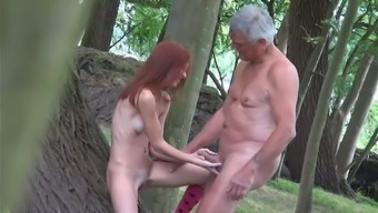 Dumpy red haired GF sucks sweet dick of old geek in the forest