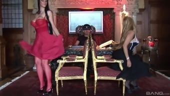Classy babes Angel Cassidy and Carmella Bing share cock in a thressome