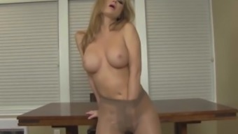 Hot blonde strips from pantyhose hose to play with herself