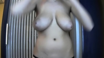 Lisa Daniels in steaming lingerie licking her big boobs