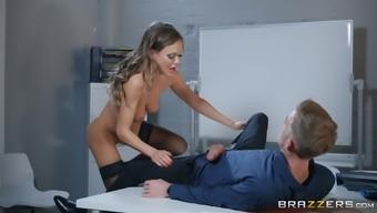 Slutty secretary Tina Kay swallows her boss's cum at the office
