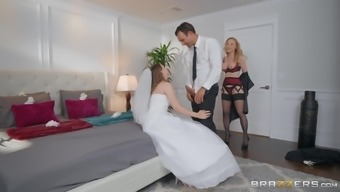 Bride to be Jillian Janson shares a dick with mature Nina Hartley