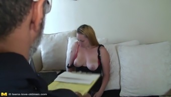 Chubby lady caresses her big melons passionately before getting banged hardcore