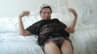 lifting my mini skirt pulling panties off showing you my male hairy pussy
