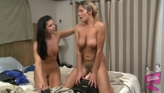 Girlfriends get on top and ride a sybian fuck machine