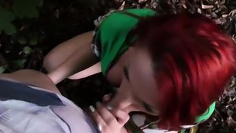 German skinny redhead teen outdoor fuck in park