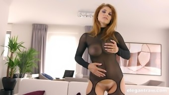 Slutty mature blonde in a fishnet suit Roberta Gemma sprayed with cum