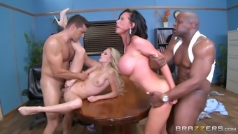 Office foursome on the conference table with slutty married girls