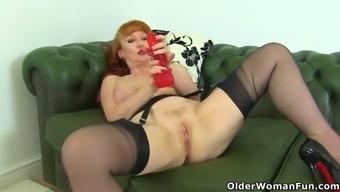 English and redhead milf velvetina dildos her hairy fanny