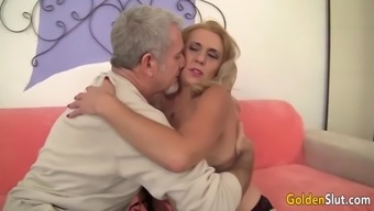 Mature cristine ruby has her hairy pussy pounded by a geezer