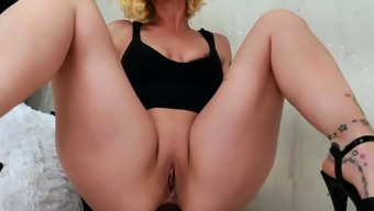 Horny and busty blonde babe solo fisting and anal toying
