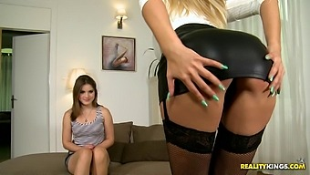 Fantastic European women in stockings and pantyhose having a foursome