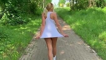 German blonde MILF Miley Weasel outdoor creampie
