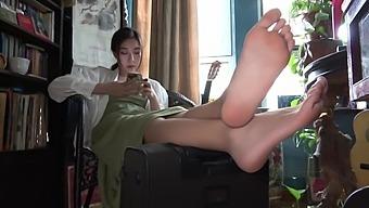 Pretty girl showing her feet