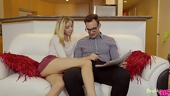 Naughty blonde girl Haley Reed provides nerdy dude with blowjob