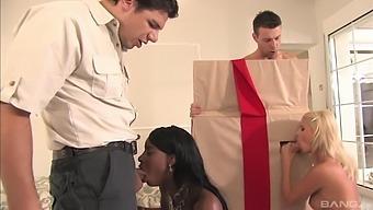 Interracial foursome with Jasmine Rouge and Jasmine Webb