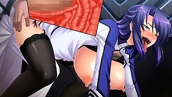 Blonde hentai anime bitch playing with cock