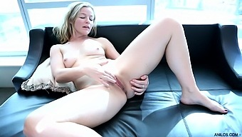 Handsome mature blonde Claudia takes off her clothes to have fun