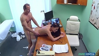 Brunette nurse gets her wet pussy licked and fucked deep by the doctor