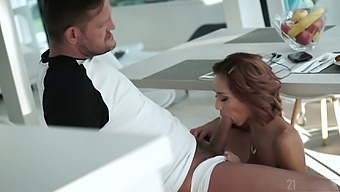 Charming young woman Veronica Leal gives a blowjob to elder sugar daddy