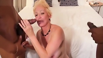 Blonde granny BBC double penetration