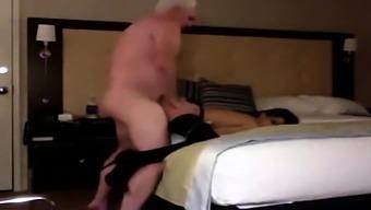 Horny brunette fucked by grandpa