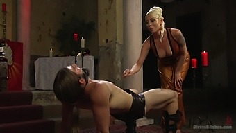 After spanking dominant Lorelei Lee uses a strapon to fuck a dude