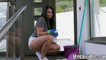 Chubby Latina maid sucks dick and fucks in her butt hole