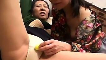 Mature granny toying