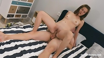 Step brother makes sure to lick her well before fucking that tiny peach