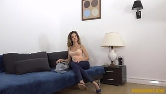 Fake agent destroys Monique Woods's tight pink pussy during casting