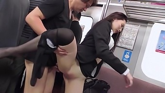 Japanese Office Lady Fucked On A Crowded Train By A Pervert