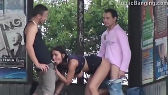 Horny woman got fucked in a bus station by two guys at the same time