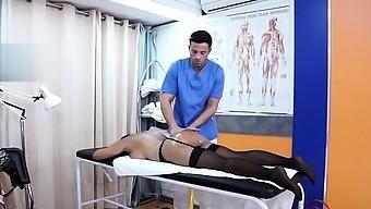 Big tits doctor blowjob with cumshot