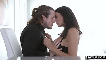 Sexually charged milf Reagan Foxx puts on sexy lingerie and stockings to seduce her indifferent man
